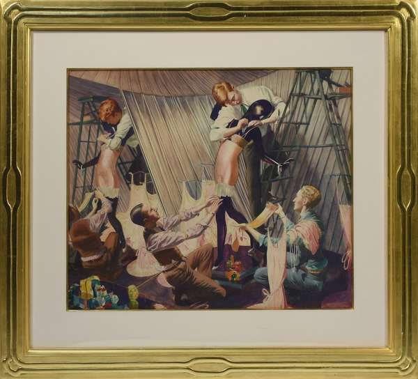 """John Rutherford Boyd, Illustrator (Am. 1884-1951) watercolor on paper of three male window dressers putting lingerie on female mannequin, 24""""H. x 28""""W. sight size, in large gold leaf frame, 38""""H. x 42""""W. overall. This painting and the three other Rutherford Boyd's were all purchased from Hirschl & Adler Galleries N.Y.C. in 1988.  Very appealing in person, appears unsigned"""