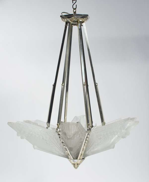 """Schneider Art Deco glass and silvered brass hanging light fixture with six patterned frosted glass panels each signed Schneider 406 France, heavy embossed pattern of geometric shapes. 28""""H. x 25.25""""Dia., ca.1925."""