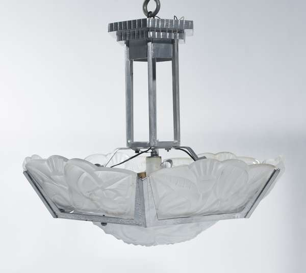 """Degue Art Deco glass and steel hanging light fixture with central glass panel and one side panel signed """"Degue"""", 18""""H. x 27""""W., ca.1925."""