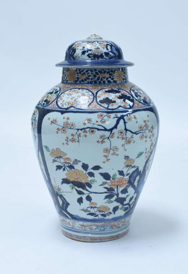 """Large Chinese 18th/19th C. covered jar, Imari palette with panels of floral pattern, 23.25""""H. x 16"""" Dia."""