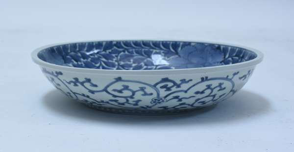 """Chinese blue and white low bowl with floral decoration inside and out, character marks on foot, 15.75"""" dia."""