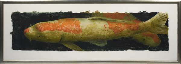 Daniel Kelly (Am., b. 1947) hand colored print on handmade paper of two Koi fish in shades of orange. Signed L.R. David Kelly '95, A.P. 1/3.