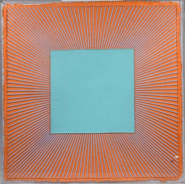 "Richard Anuszkiewicz (Am., b. 1930) optical art, folded and painted paper. Aqua center on orange field. Mounted in plexiglass case, 44.5"" square, signed L.R. Anuszkiewicz 1987, 2/15."
