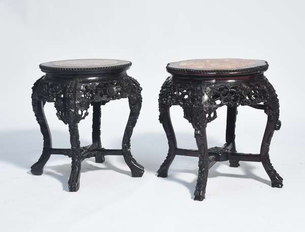 """Two 19th C. Chinese carved rosewood and marble inset stands, intricately carved with floral motifs, 19""""H. x 20""""Dia."""