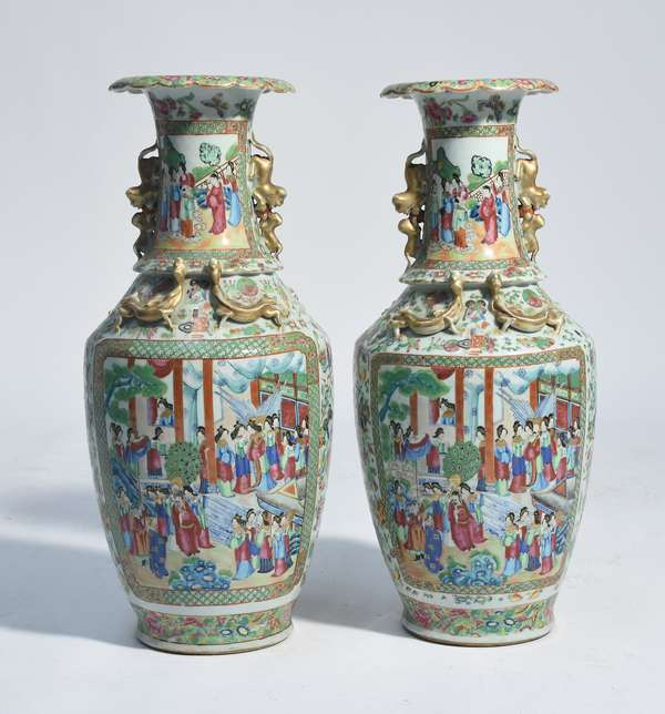 """Pair of Chinese Rose Mandarin vases, large panels with figures on front and back, floral and butterfly background, 24.5""""H. ca.1850"""