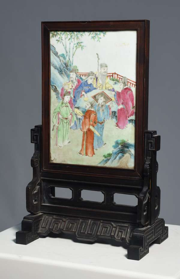 """Chinese 19th C. Rose Mandarin table screen, porcelain panel set in carved rosewood frame, 15.5""""H. x 9.5""""W., ca.1850"""