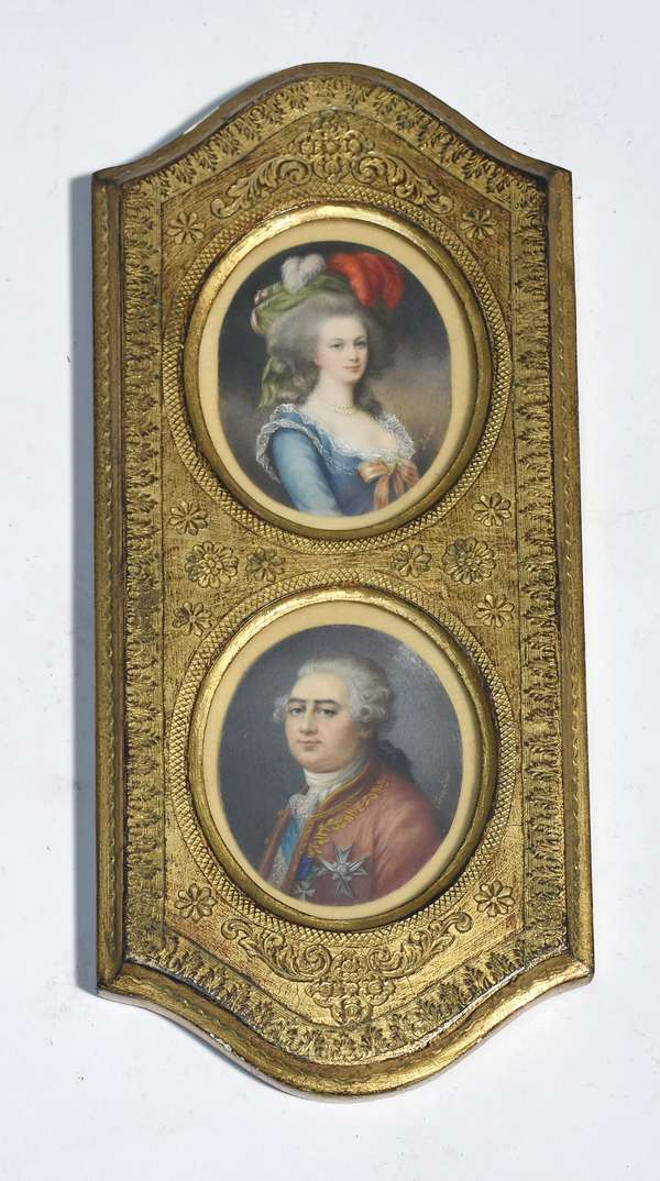 """Pair French 19th C. hand painted oval miniatures, woman signed """"Lebrum"""", man artist signed """"Levachuer"""", framed, 3.5""""H. each"""