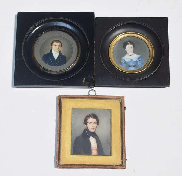 "Three 18th/19th C. portrait miniatures, American/English: folk depiction of woman in blue dress; man in dress attire, and young man in dress attire, largest 2 7/8""H."