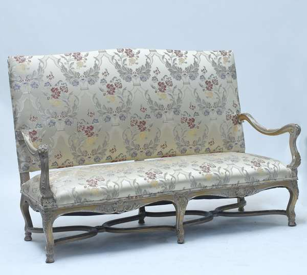"""French 19th C. Louis XV style three seat settee, carved and painted surface with good brocade fabric, 64.5W. x 47""""H."""
