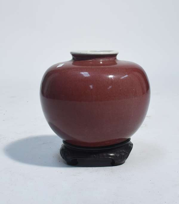 """Chinese 19th C. Peach-Bloom vase on carved hardwood stand, appears original, 7.5"""" x 10"""" W."""