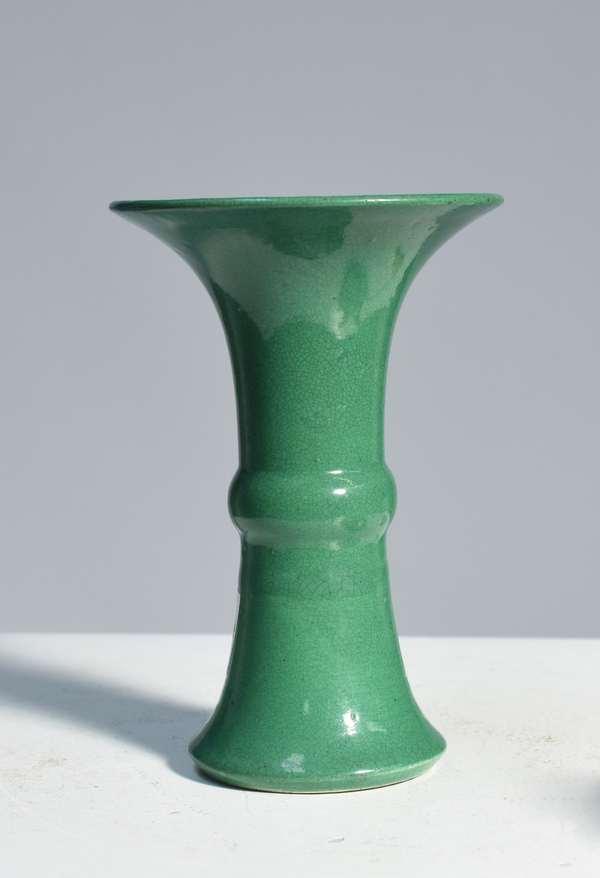 "Chinese 18th C. cucumber glaze vase, 5.25""H., unmarked."
