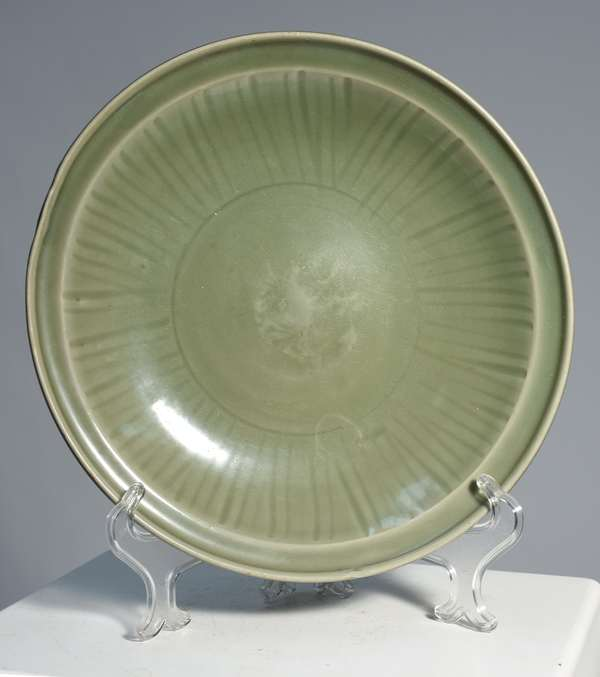 """Chinese 18th C. celadon, low bowl incised lines, and shaped rim, 13.25"""""""
