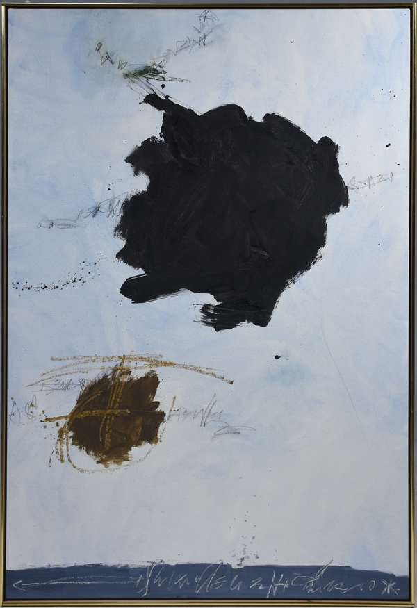 """Kikuo Saito (b.1939)  oil on canvas """"Moors-Moon"""" 1993, signed, titled and dated on canvas back. Signed on front bottom center Kikuo Saito. 59.75"""" x 39.5"""""""
