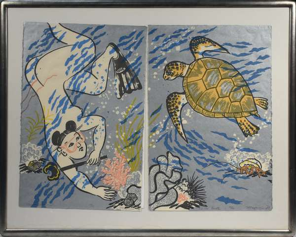 """Mayumi Oda (Japanese) woodblock diptych, """"Sea Turtle"""", pencil signed lower left and numbered 14/50, depicts naked female diver and sea turtle, 38.5"""" x 52""""."""