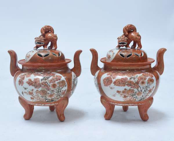 Pair Japanese Kutani Koro, handled footed with foo dog finials and finely painted bird and floral panels, 19th C.