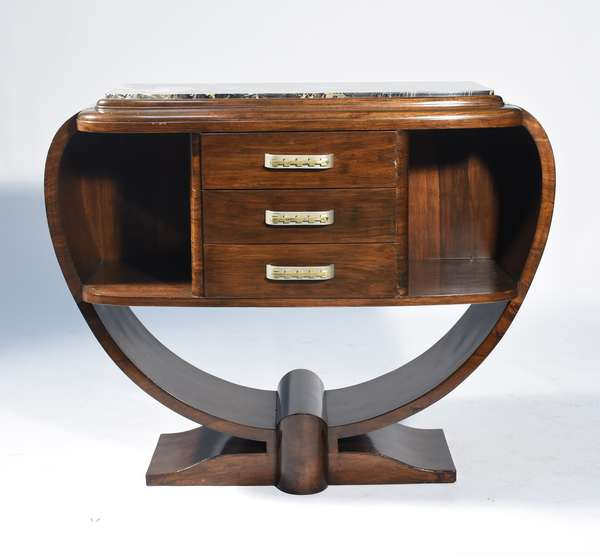 """Manner of Jules LeLeu, Art Deco marble top console in rosewood with black veined marble top, ca.1925.  47""""W. x 38""""H. x 18""""D., very stylish and small size makes it usable."""