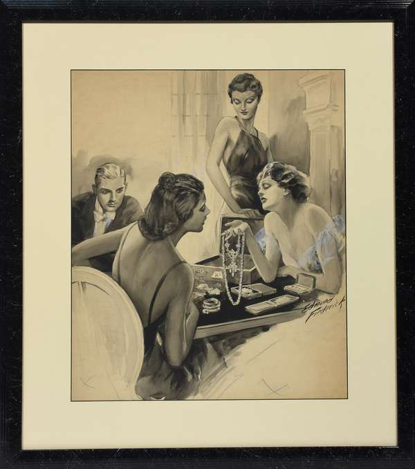 """Edmund Frederick (Am. b. 1870)  watercolor illustration from American Weekly, depicts three women inspecting jewelry while dapper man looks on, framed and matted, signed middle right Edmund Frederick, ca.1930, watercolor en-grisaille, heightened with gouache, 20""""H. x 16""""W.,"""