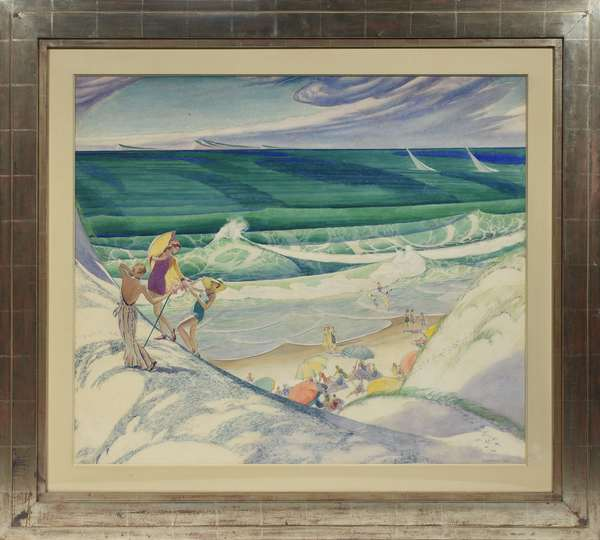 """John Rutherford Boyd, Illustrator (Am. 1884-1951) watercolor on paper, """"Bathers at the Seashore"""" ca.1935, 28""""H. x 32.75""""W., in matted silver leaf frame. This painting, as well as the other Boyd's, came from Hirschl & Adler in 1989, retains original labels on reverse."""