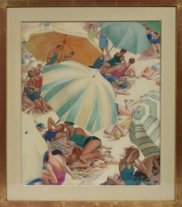 """John Rutherford Boyd, Illustrator (Am. 1884-1951) watercolor on paper, """"Beach Umbrellas and Bathers"""", figures lounging on the beach,  24.5""""H. x 20.5""""W., matted and housed in a liner, ca.1930, appears unsigned."""