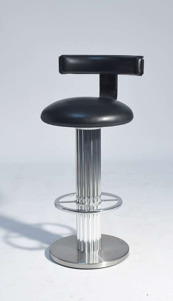 Five Modernist Art Deco style bar stools, black leather & chrome.