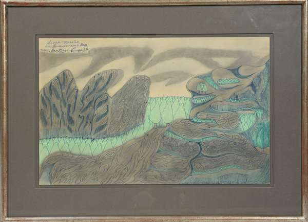 """Joseph E.  Yoakum (Am. 1888-1976) """"Sierra Maestra on Guantanamo Bay near Santiago Cuba"""", colored pencil and other medium.  Image 12""""H. x 19""""W. Titled upper left, but appears unsigned. Yoakum was a friend of the deceased and the painting was acquired directly from the artist."""