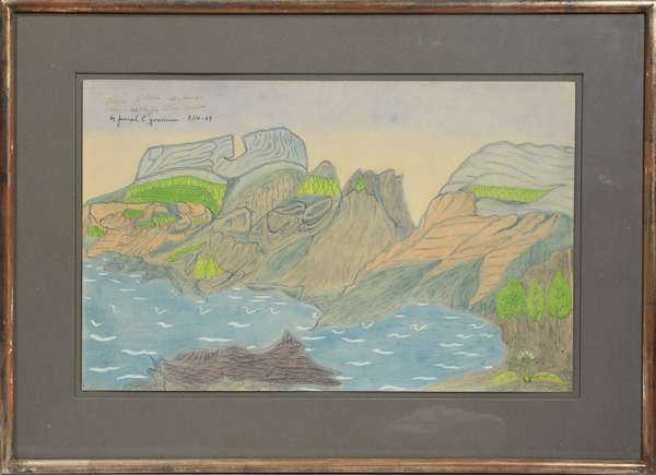 """Joseph E. Yoakum (Am. 1888-1976) drawing, Three Sisters Mountain range near McKenzie Ridge, Oregon 8/14-69, signed upper left. 12""""H. x 19""""W. Yoakum was a friend of the deceased and this piece was acquired directly from the artist."""