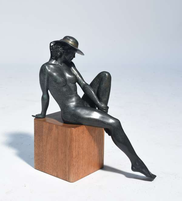 """Bronze sculpture seated nude signed. C. Pyne (Charles J. Pyne), 14/15, 13""""H. on mahogany base"""