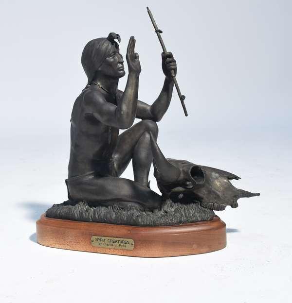 "Charles J. Pyne bronze figure of kneeling Native American titled ""Spirit Creatures"".  16""H., signed C. Pyne ca. 1983, 3/20."