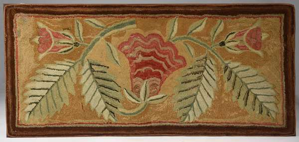 "Yarn sewn hearth rug wrought on linen, ca. 1825-1850, mounted for framing, 70"" x 33"""