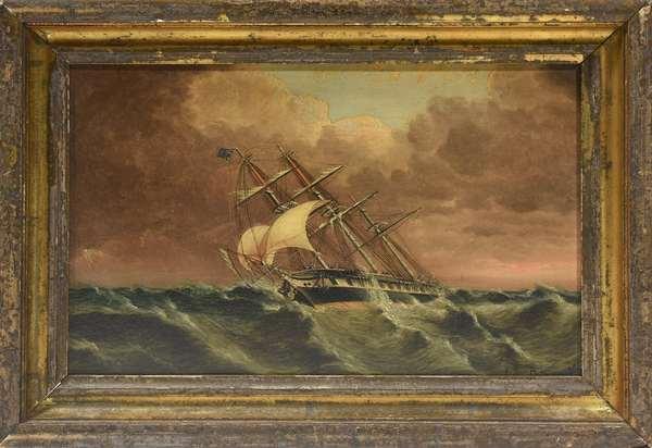 """Oil on artist's board by James Edward Buttersworth (1817-1894), naval vessel in stormy seas, 8"""" x 12"""""""