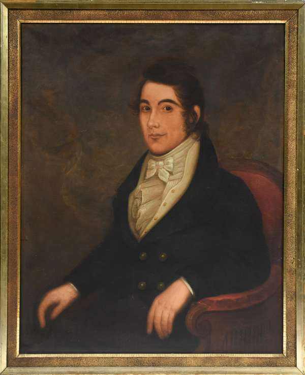 """Large oil on canvas, portrait of a noble young man, ca. 1830-1840, 36"""" x 29"""""""