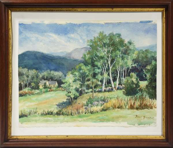 "Paul Sample watercolor, Vermont Summer Landscape, signed lower right, 15"" x 20"""