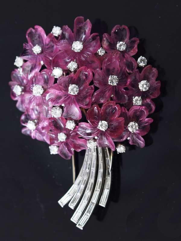"Signed Buccellati carved pink tourmaline flower brooch, accented by approx. 3.25 ctw round brilliant and baguette cut diamonds, 2.5""L. , 27.9 grams"