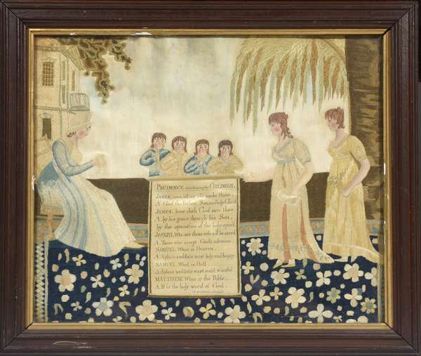 "Early 19th C. crewel work on silk, Prudence catechizing the children"", 15"" x 17"", inscribed ""B.H. Cheever Scripsit"""