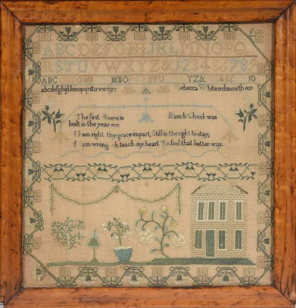 "American schoolgirl needlework sampler, depicting the oldest house in Jim Thorpe PA formerly Mauch Chunk, wrought by Rebecca White in 1829, 22"" x 20"""