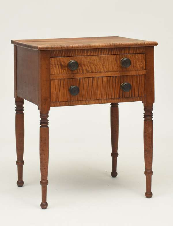 "Federal tiger maple two drawer stand on turned legs ca.1820, 22.25""L. x 19.25""W. x 29""H."