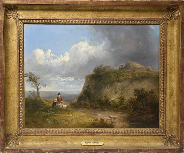 "Oil on canvas signed T. Doughty (Thomas Doughty) ""Path to the Sea"", with provenance, 14""x 18"""
