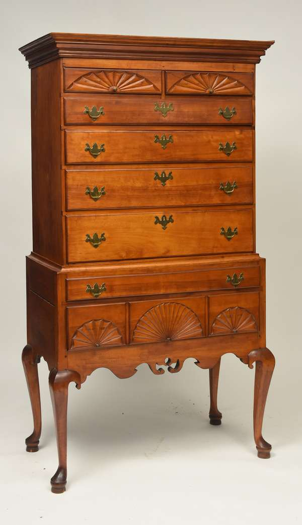 "18th C. maple/birch NH Queen Anne highboy with five fan carvings, 75.5""H. x 39""W. x 20.5""D."