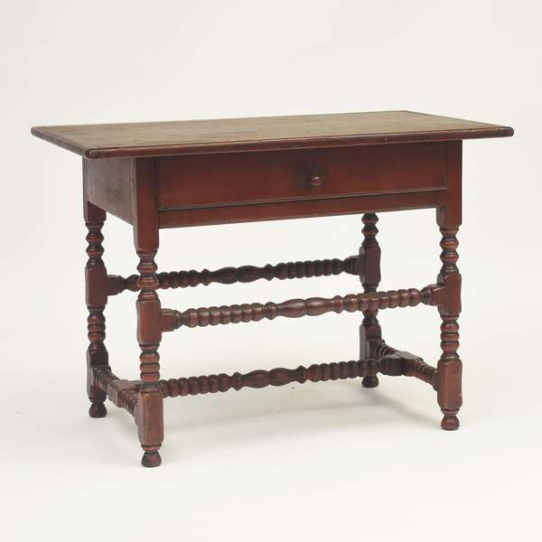"New England William & Mary high/low one drawer stretcher tavern table with breadboard ends on turned legs, ca.1740-50, 39.5""L. x 24""W. x 29""H."