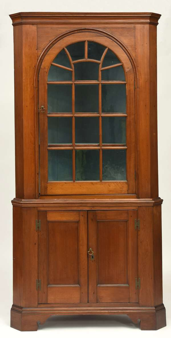 "Two-part Chippendale walnut corner cupboard, with arched glass door top, ca.1780, 89.5""H. x 40""W. x 26""D."