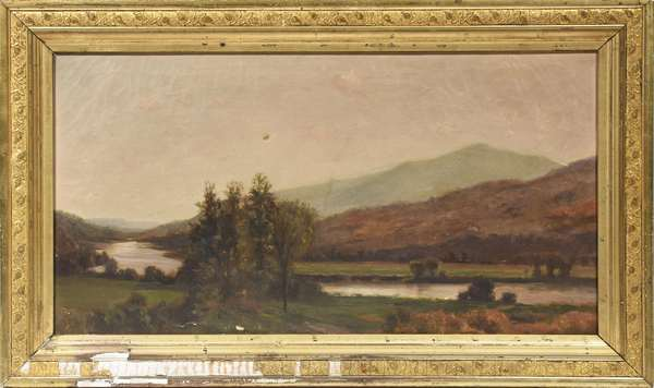 "Oil on canvas, Mt. Ascutney (the artist likely perspective from Cornish NH near Blow Me Down Mill), signed and titled on the stretcher - Charles Partridge Adams, 14.5"" x 26.5"""