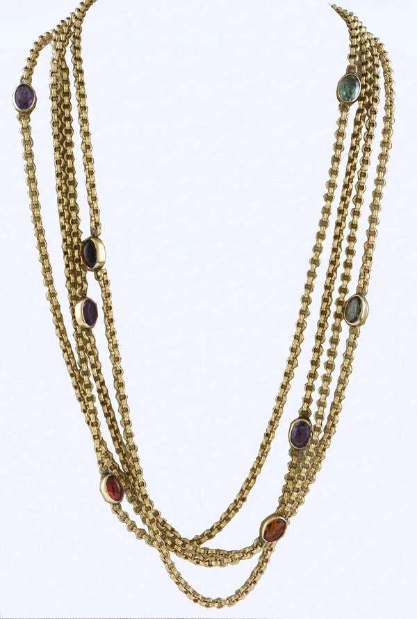 "14k yellow gold long chain (64"") with semi precious stones ""by the yard"" style, 36 grams"