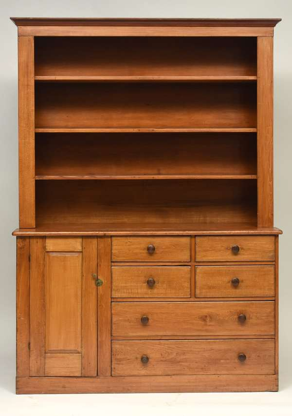"19th C. Enfield shaker cupboard, with open top and arrangement of doors and drawers below, 84""H. x 58""W. x 20""D."