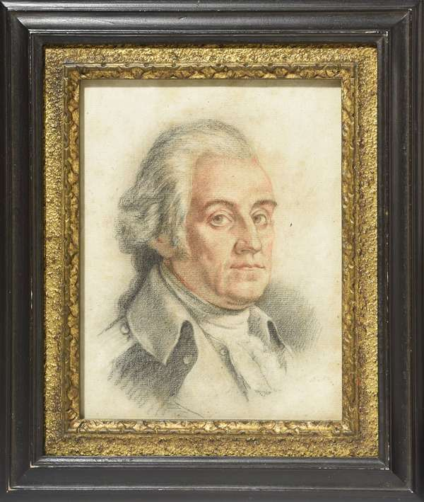 "American late 18th C. pastel portrait of George Washington, 9.25"" x 7.25"""