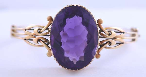Antique 15k yellow gold amethyst bracelet, large amethyst measures approx 21mm X 28.5 mm, approx. 40 ct, 26.8 grams