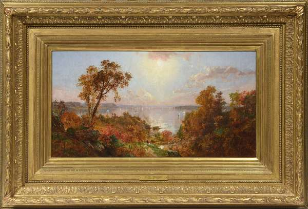 "Oil on canvas, ""View of the Hudson"", by Jasper F. Cropsey, signed lower left 
