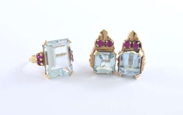 14k yellow gold aquamarine earrings approx. 6 ctw accented by synthetic rubies with matching ring approx. 15 ct aqua with synthetic rubies, size 5.25, 15.3 grams (set)