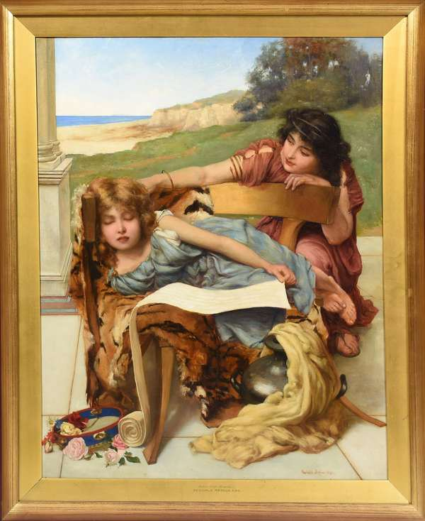 "Oil on canvas, ""Dolce Far Niente"" by Reginald Arthur 1891, signed lower right, 26.5"" x 21"""