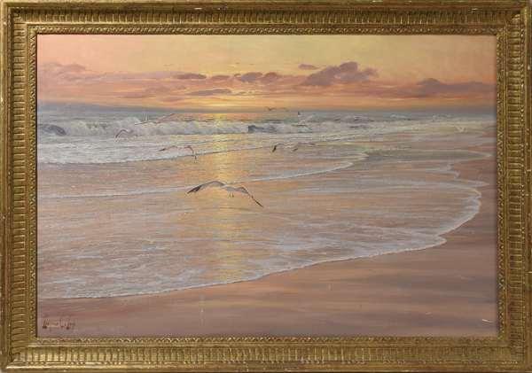 """Oil on canvas, seagulls in flight over Florida beach at sunset, Leonard C. Lane, 24"""" x 36"""""""