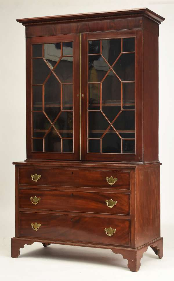"""American Chippendale three-part mahogany bookcase with drawers below carved cornice with brass ormolu, ca.1780-1800, 80""""H. x 44""""W. base"""